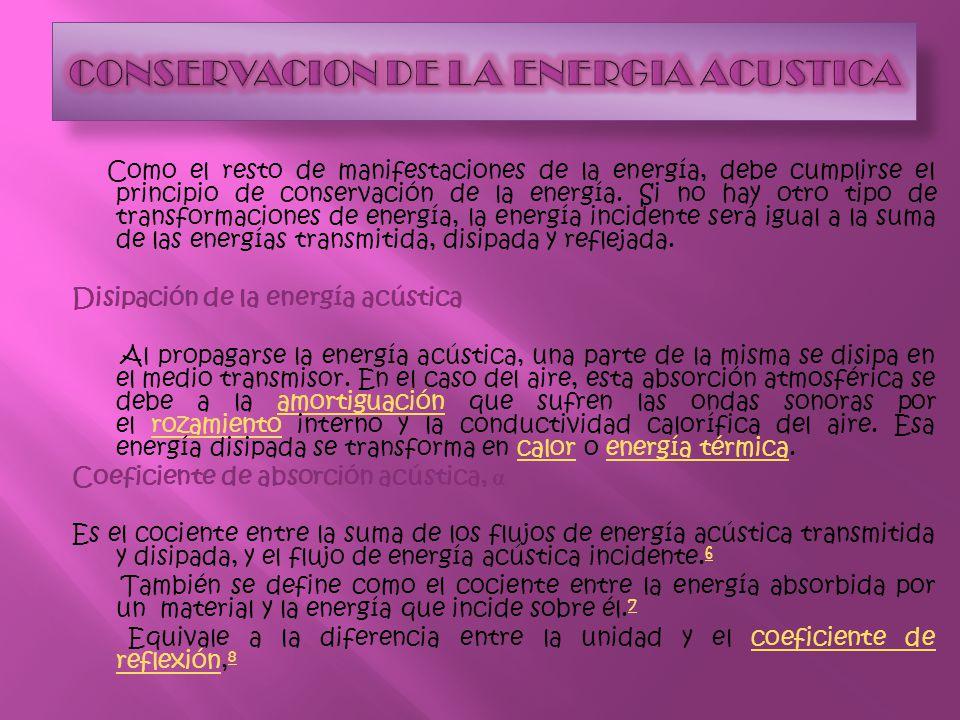 CONSERVACION DE LA ENERGIA ACUSTICA