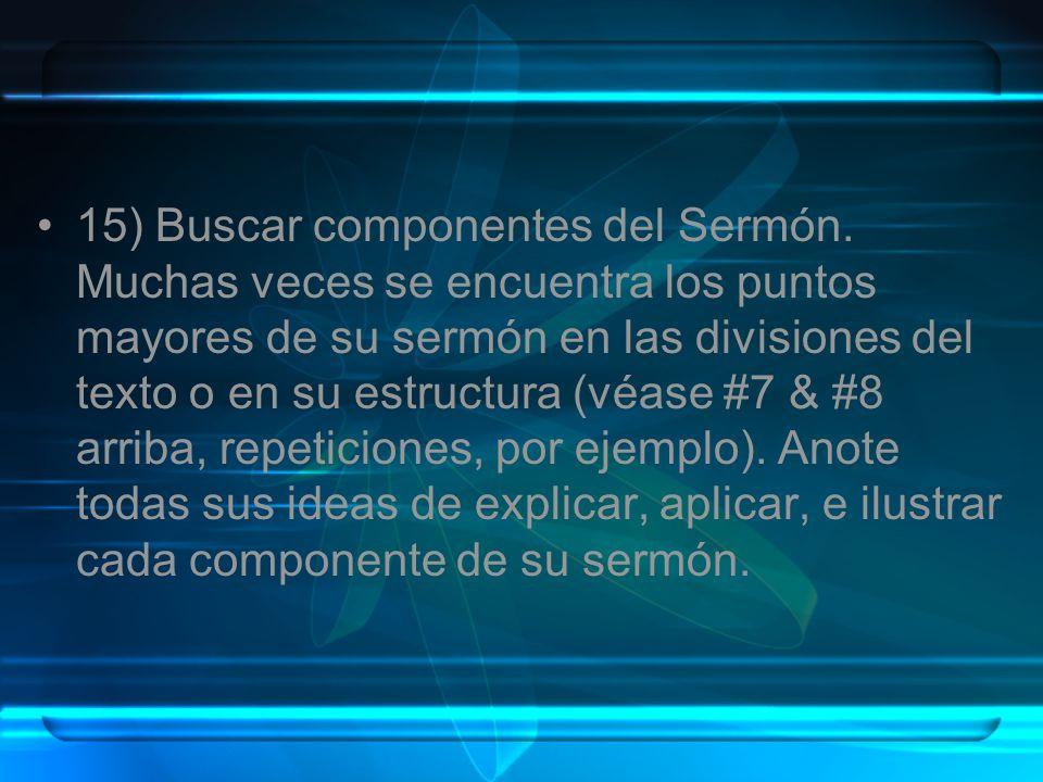 15) Buscar componentes del Sermón