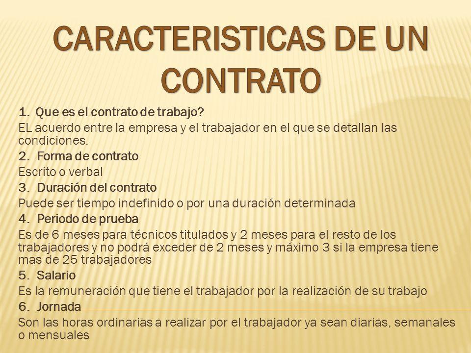 CARACTERISTICAS DE UN CONTRATO