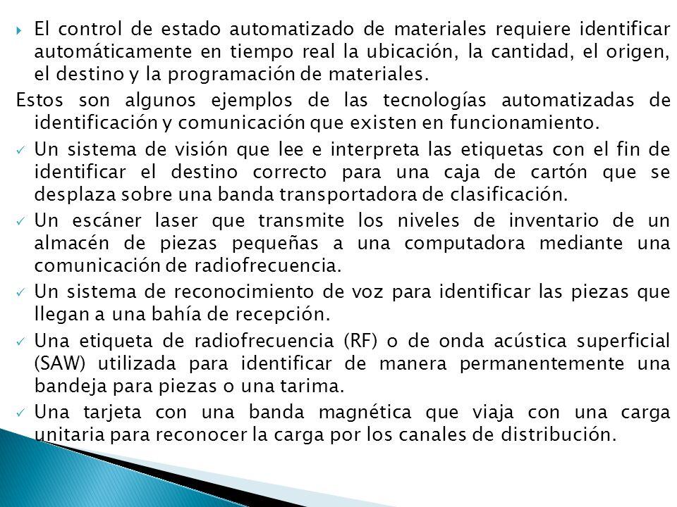 El control de estado automatizado de materiales requiere identificar automáticamente en tiempo real la ubicación, la cantidad, el origen, el destino y la programación de materiales.