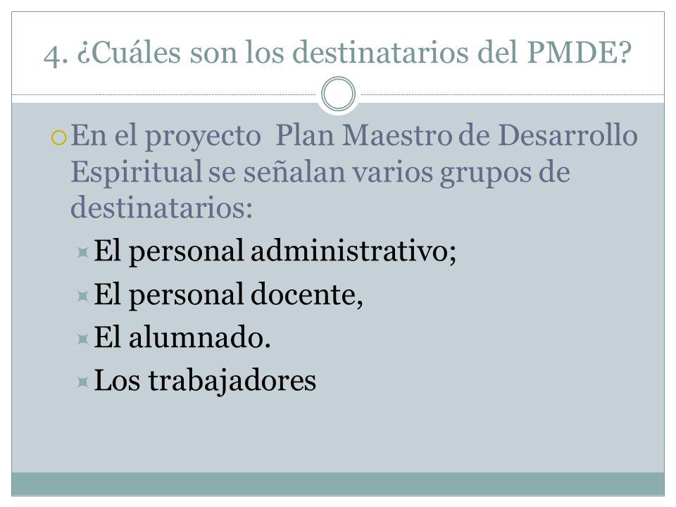 4. ¿Cuáles son los destinatarios del PMDE