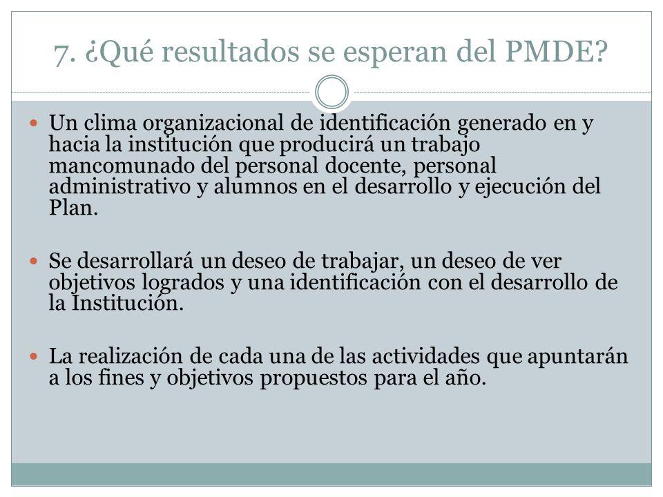 7. ¿Qué resultados se esperan del PMDE