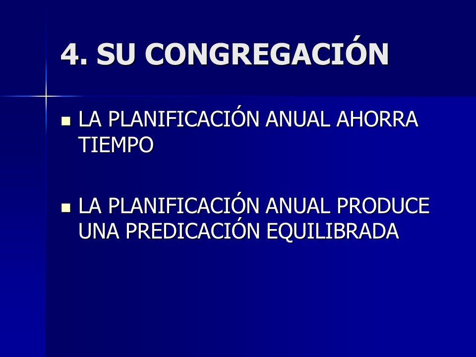 4. SU CONGREGACIÓN LA PLANIFICACIÓN ANUAL AHORRA TIEMPO