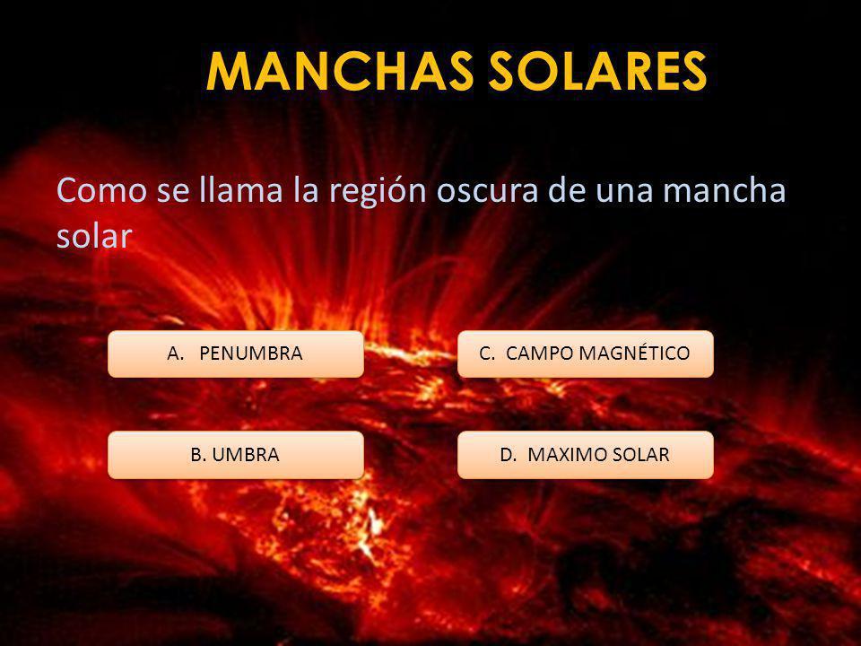 MANCHAS SOLARES Como se llama la región oscura de una mancha solar