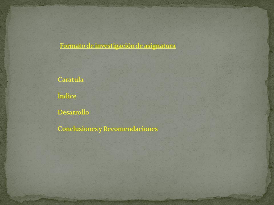 Formato de investigación de asignatura