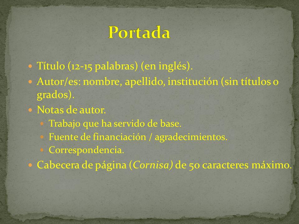 Portada Título (12-15 palabras) (en inglés).