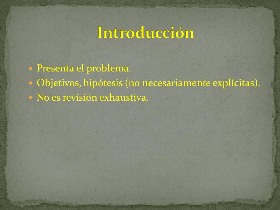 Introducción Presenta el problema.