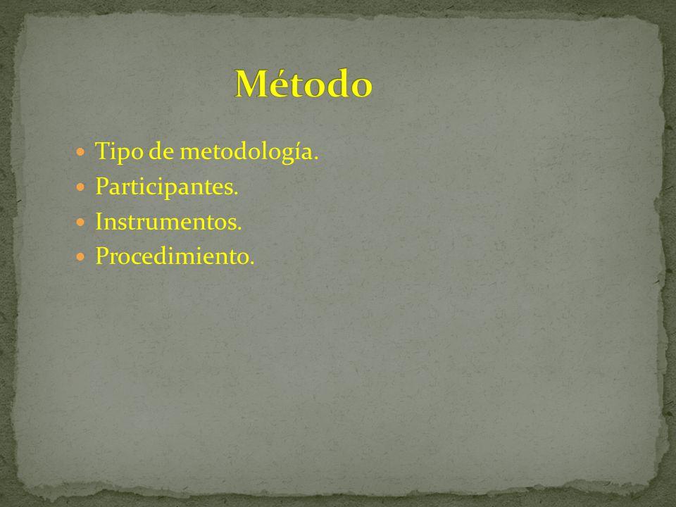 Método Tipo de metodología. Participantes. Instrumentos.