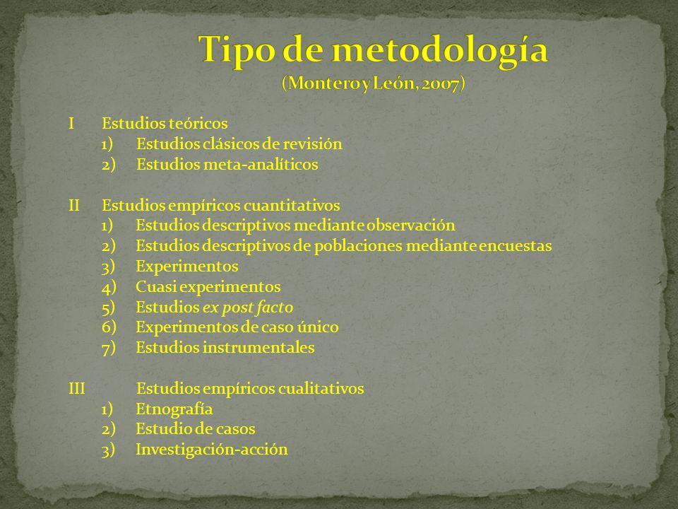 Tipo de metodología (Montero y León, 2007)