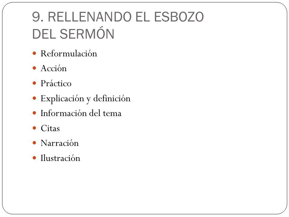 9. RELLENANDO EL ESBOZO DEL SERMÓN