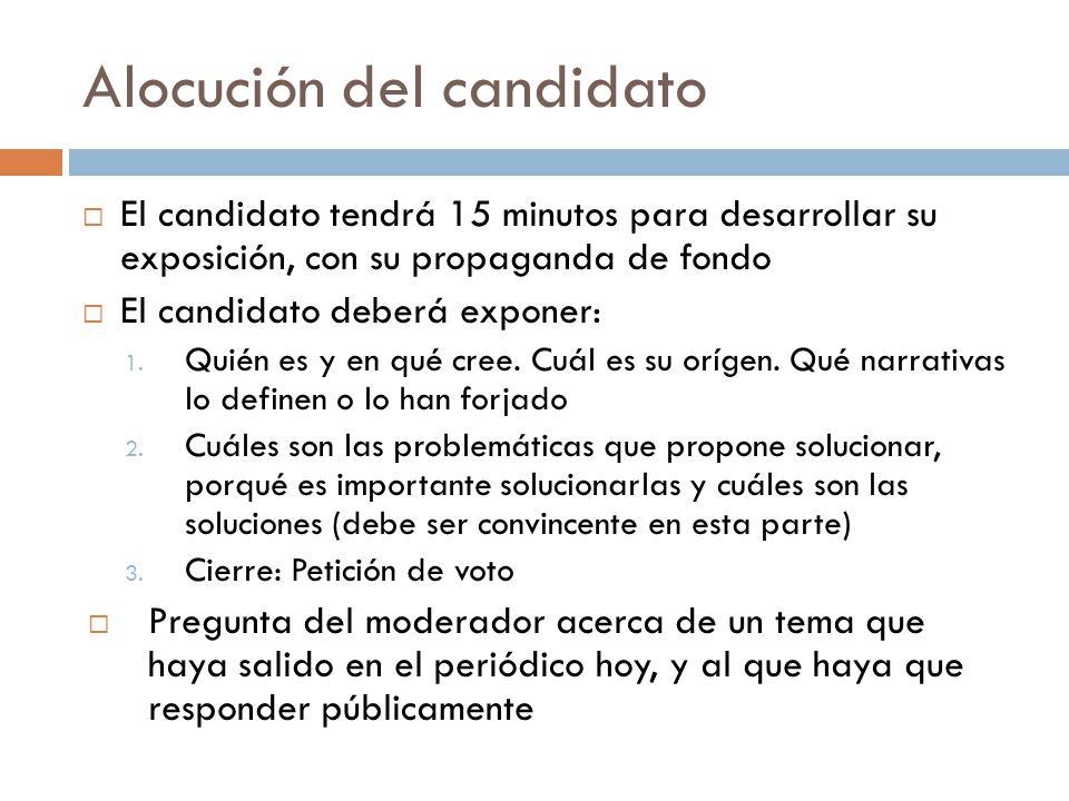 Alocución del candidato