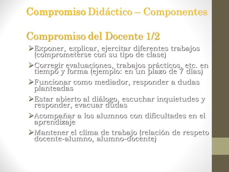 Compromiso Didáctico – Componentes Compromiso del Docente 1/2