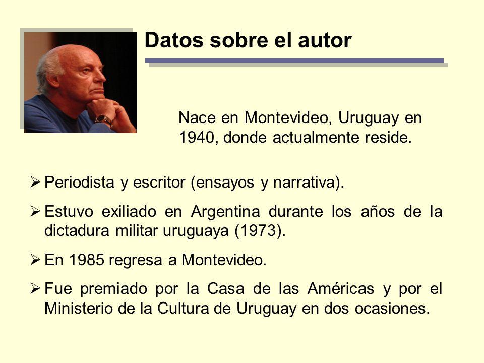 Datos sobre el autorNace en Montevideo, Uruguay en 1940, donde actualmente reside. Periodista y escritor (ensayos y narrativa).