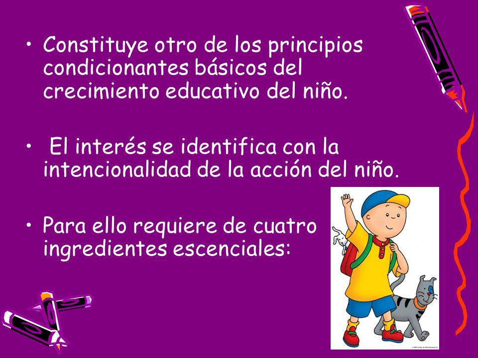 Constituye otro de los principios condicionantes básicos del crecimiento educativo del niño.