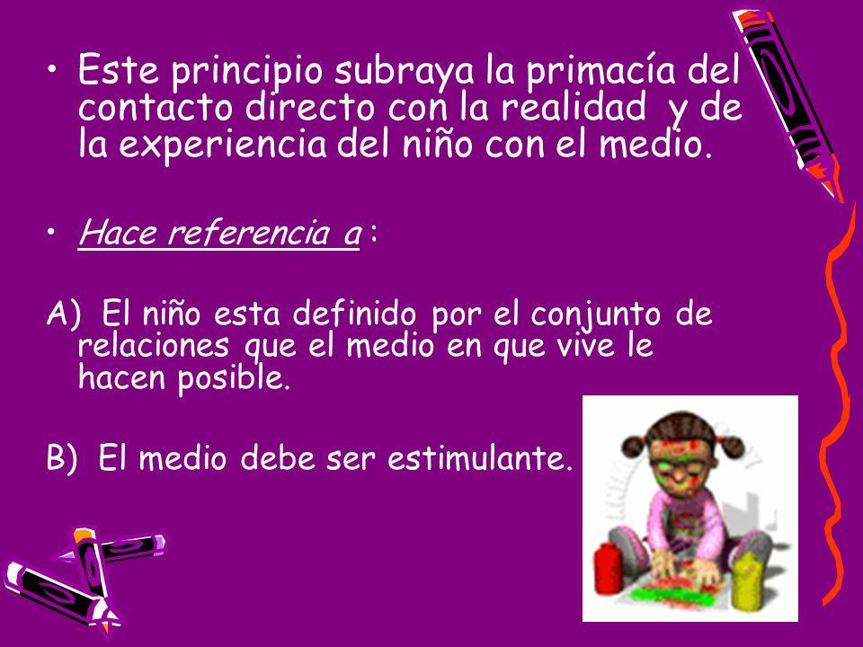 Este principio subraya la primacía del contacto directo con la realidad y de la experiencia del niño con el medio.