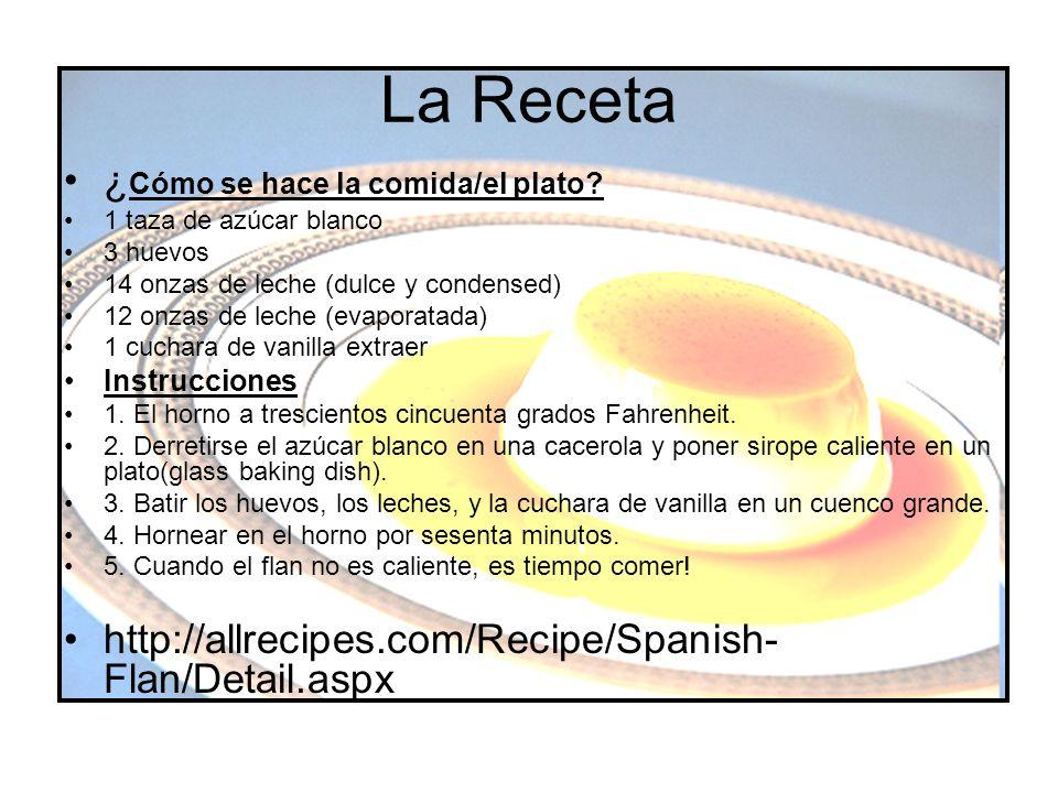 La Receta ¿Cómo se hace la comida/el plato