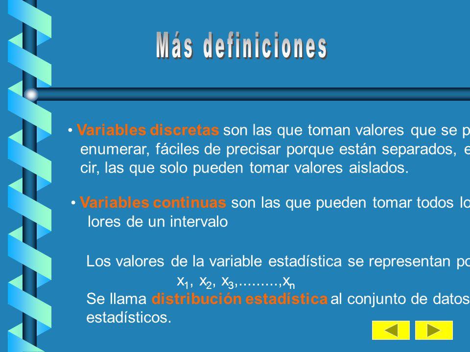 Más definiciones Variables discretas son las que toman valores que se pueden. enumerar, fáciles de precisar porque están separados, es de-