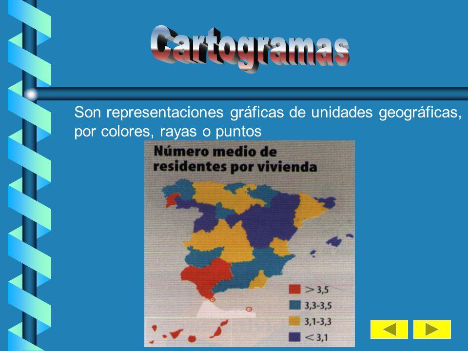 Cartogramas Son representaciones gráficas de unidades geográficas, diferenciadas.