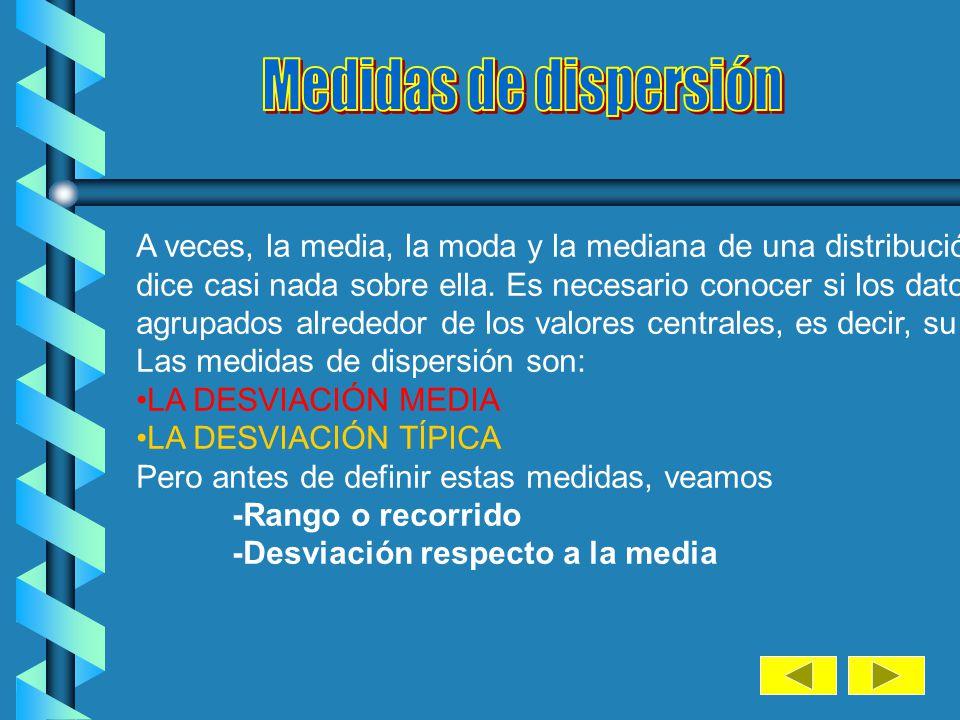 Medidas de dispersión A veces, la media, la moda y la mediana de una distribución no nos.