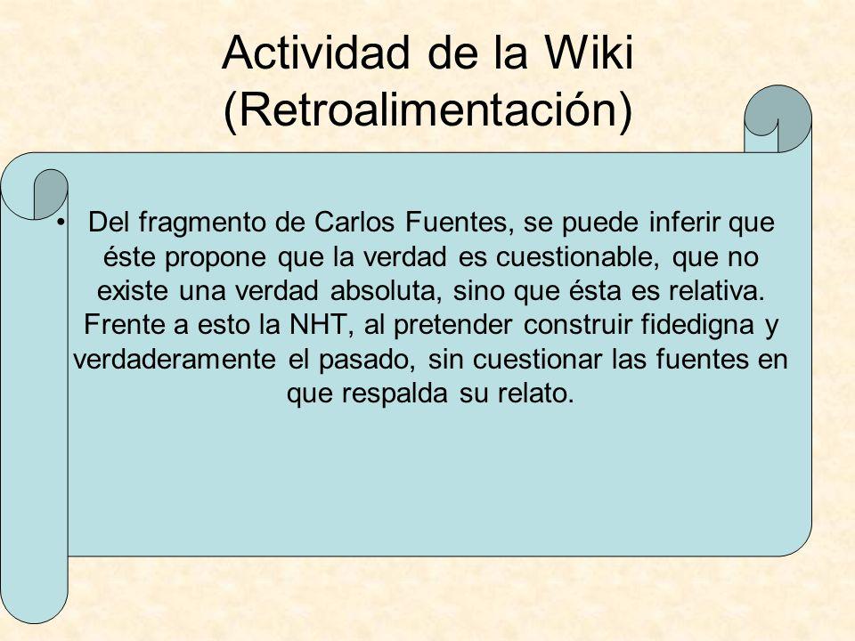 Actividad de la Wiki (Retroalimentación)