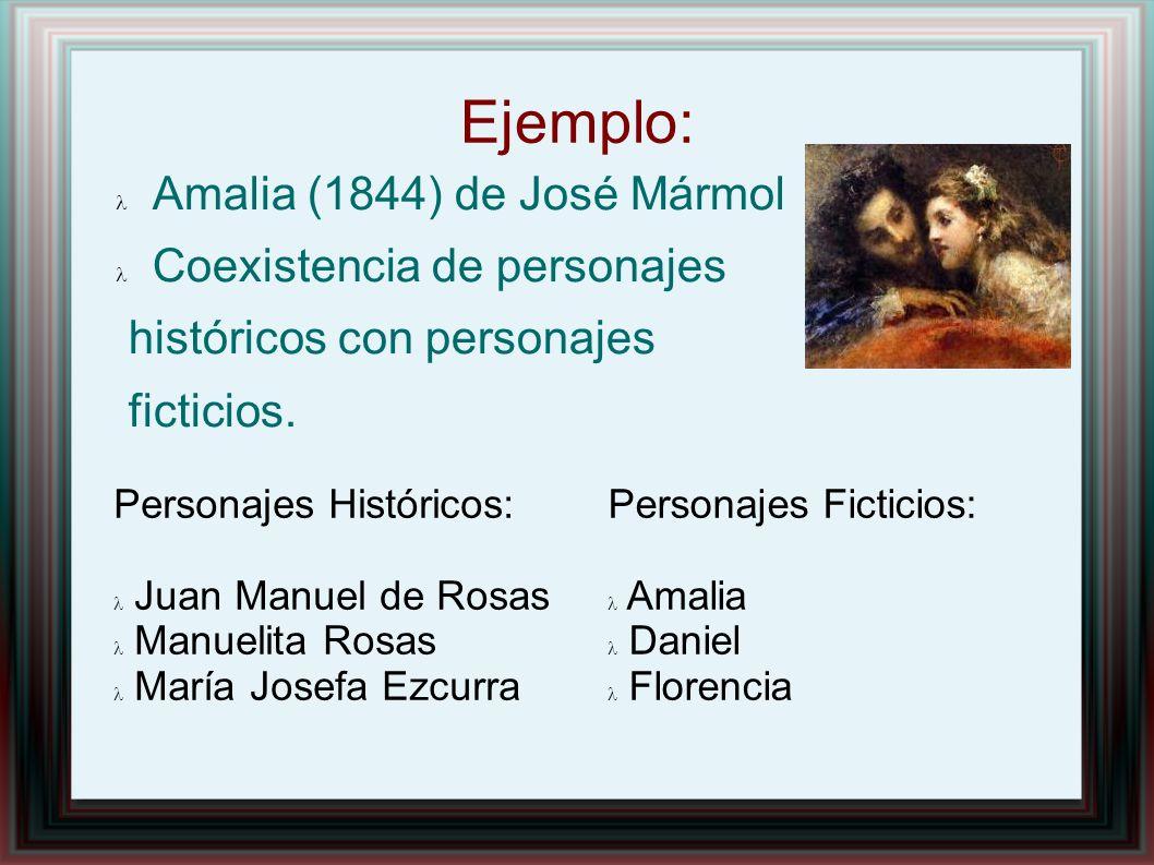 Ejemplo: Amalia (1844) de José Mármol Coexistencia de personajes