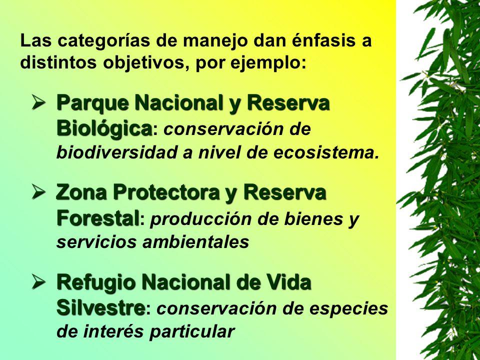 Las categorías de manejo dan énfasis a distintos objetivos, por ejemplo: