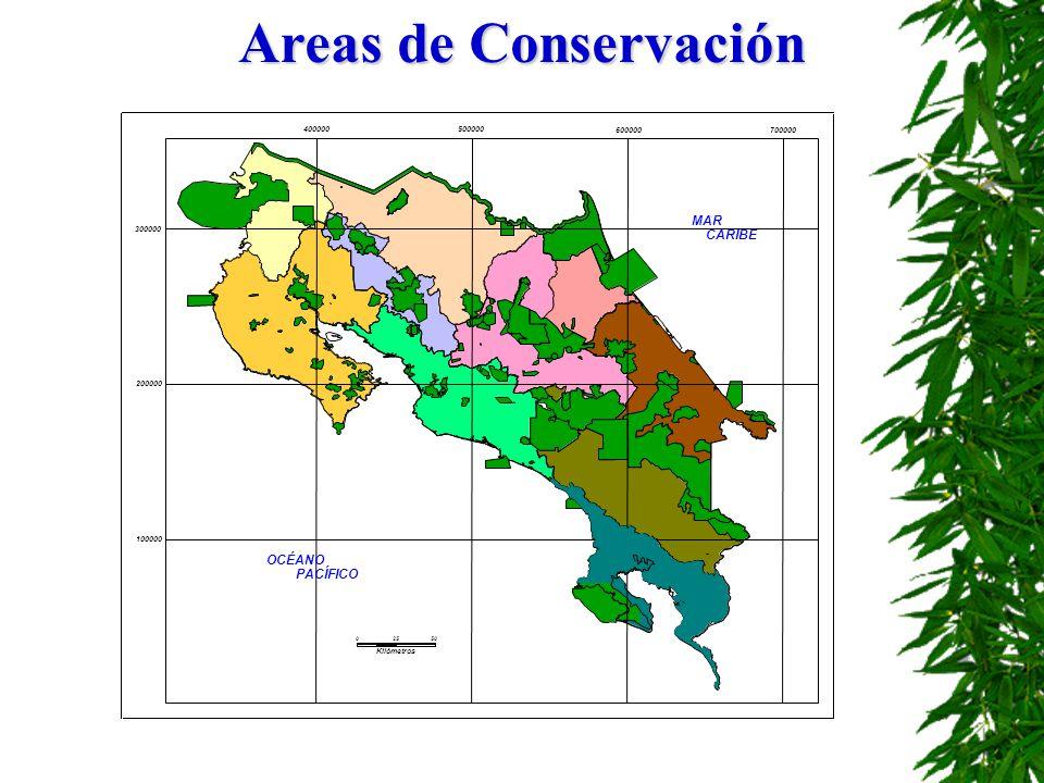 Areas de Conservación MAR CARIBE OCÉANO PACÍFICO Kilómetros 100000