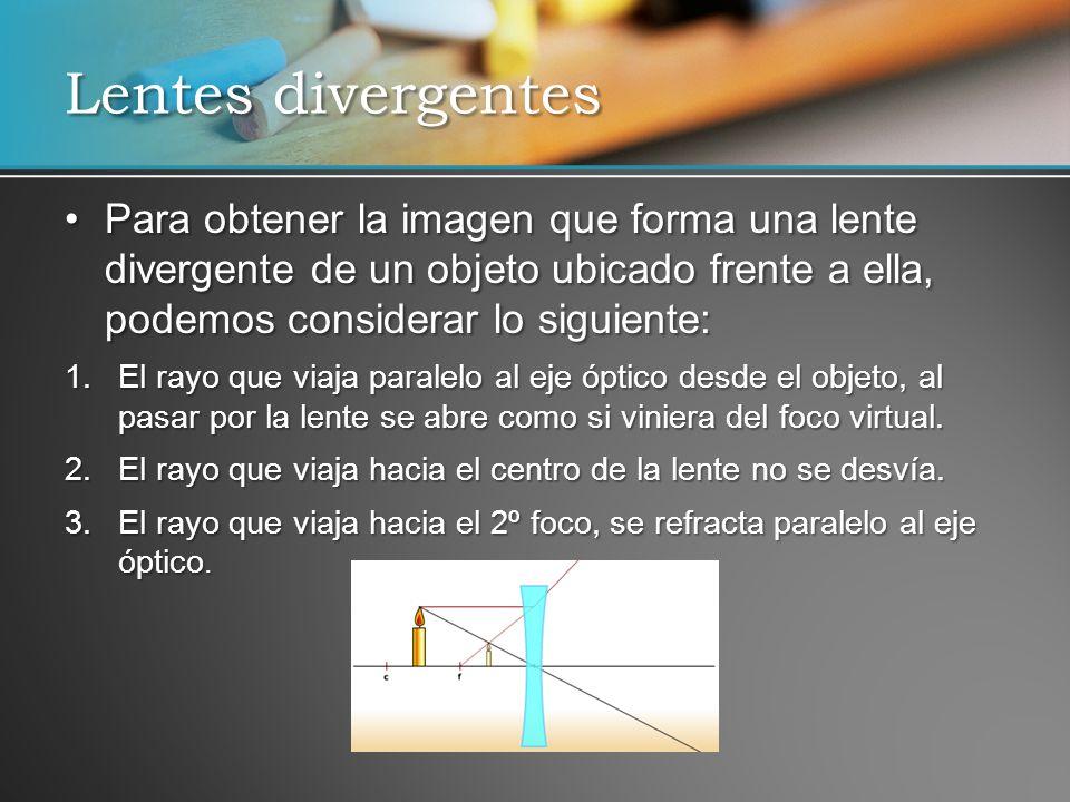 Lentes divergentes Para obtener la imagen que forma una lente divergente de un objeto ubicado frente a ella, podemos considerar lo siguiente: