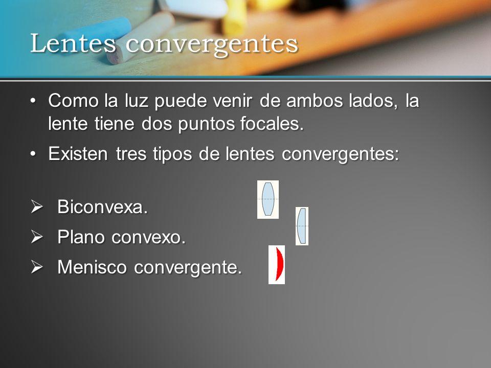 Lentes convergentes Como la luz puede venir de ambos lados, la lente tiene dos puntos focales. Existen tres tipos de lentes convergentes: