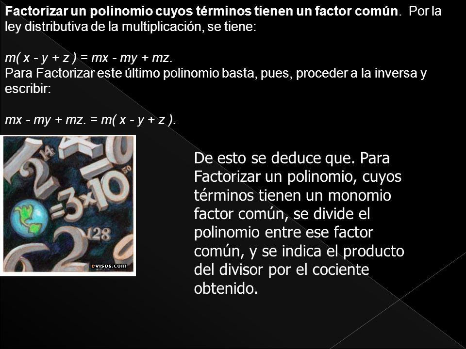 Factorizar un polinomio cuyos términos tienen un factor común
