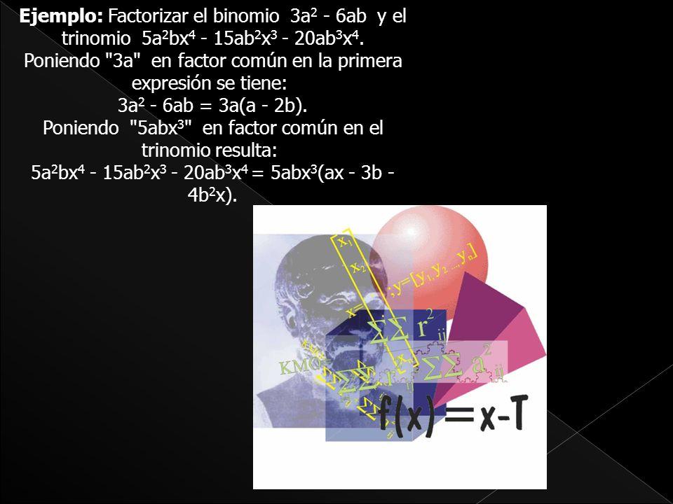 Ejemplo: Factorizar el binomio 3a2 - 6ab y el trinomio 5a2bx4 - 15ab2x3 - 20ab3x4.