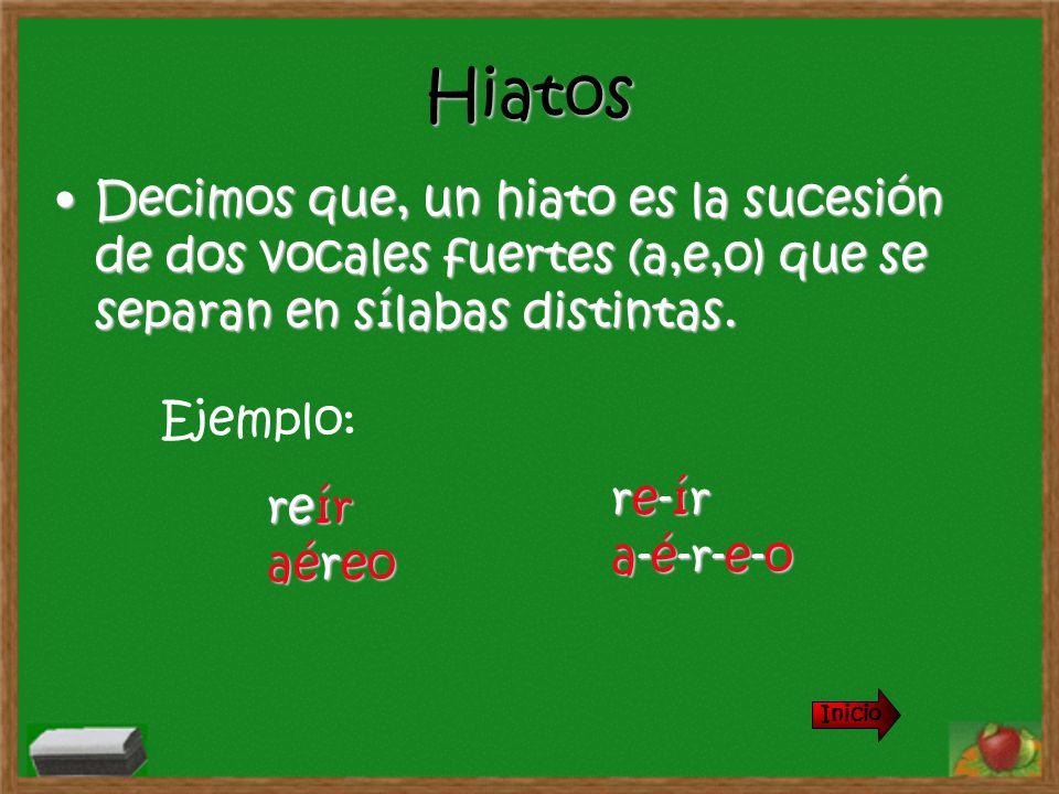 Hiatos Decimos que, un hiato es la sucesión de dos vocales fuertes (a,e,o) que se separan en sílabas distintas.