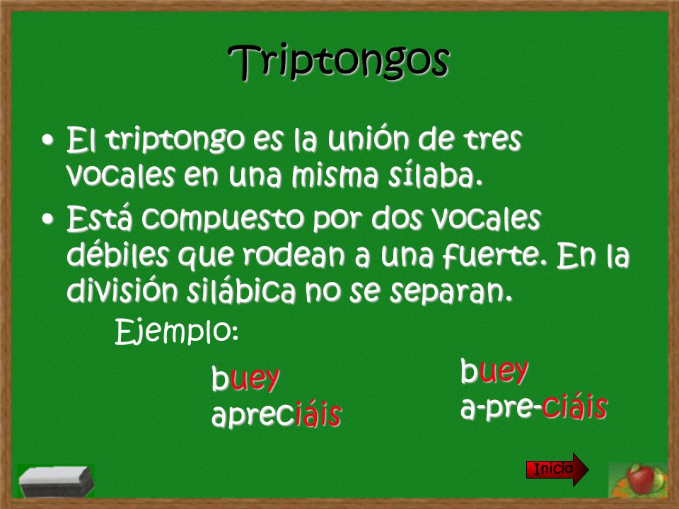 Triptongos El triptongo es la unión de tres vocales en una misma sílaba.