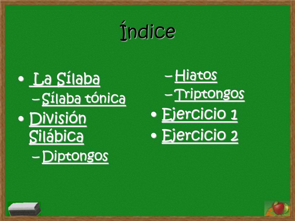 Índice La Sílaba Ejercicio 1 División Silábica Ejercicio 2 Hiatos