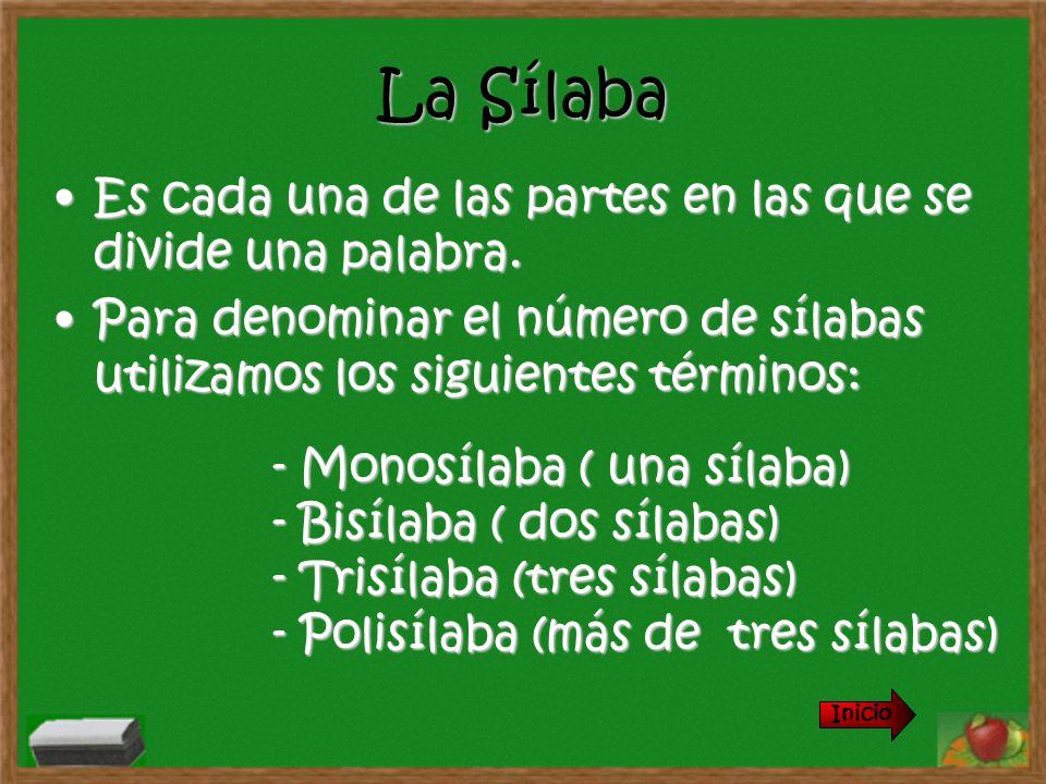 La Sílaba Es cada una de las partes en las que se divide una palabra.