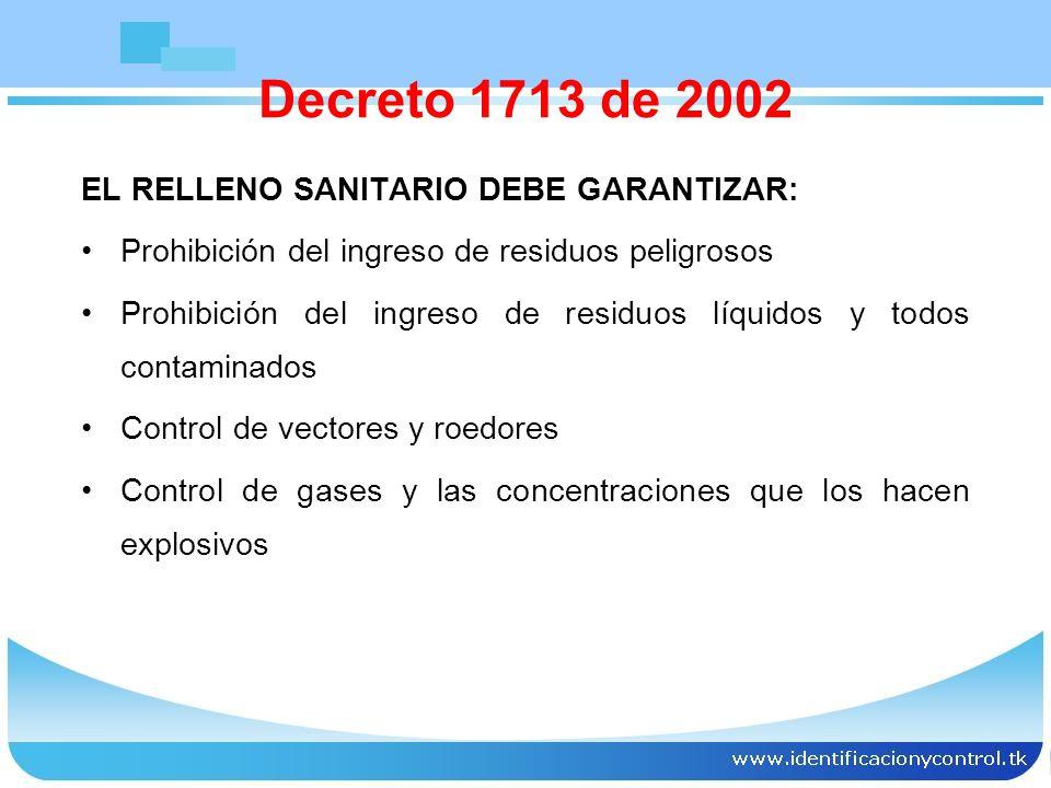 Decreto 1713 de 2002 EL RELLENO SANITARIO DEBE GARANTIZAR: