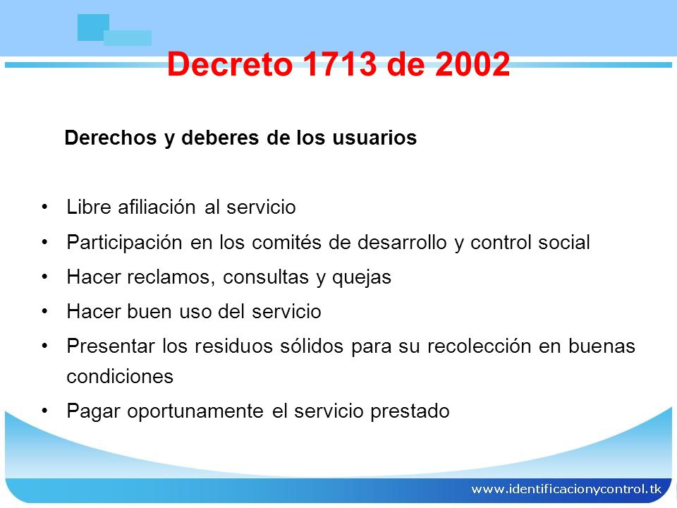 Decreto 1713 de 2002 Derechos y deberes de los usuarios