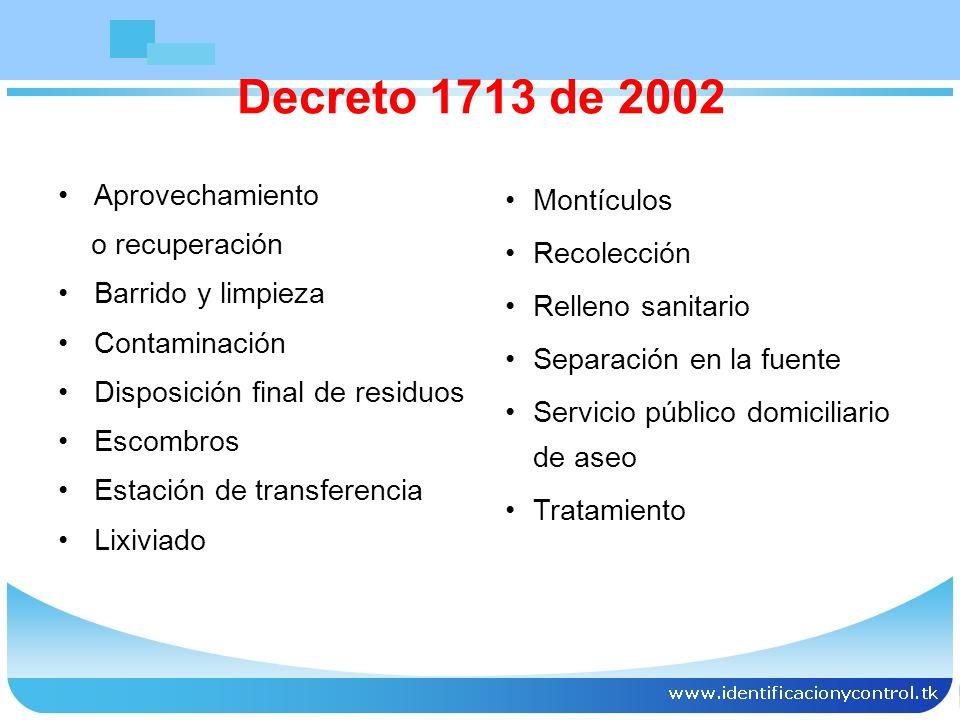 Decreto 1713 de 2002 Aprovechamiento Montículos o recuperación