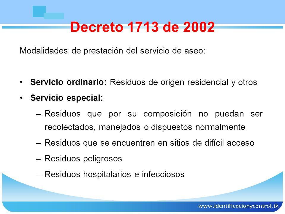 Decreto 1713 de 2002 Modalidades de prestación del servicio de aseo: