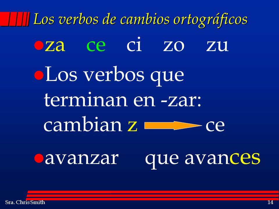 Los verbos de cambios ortográficos