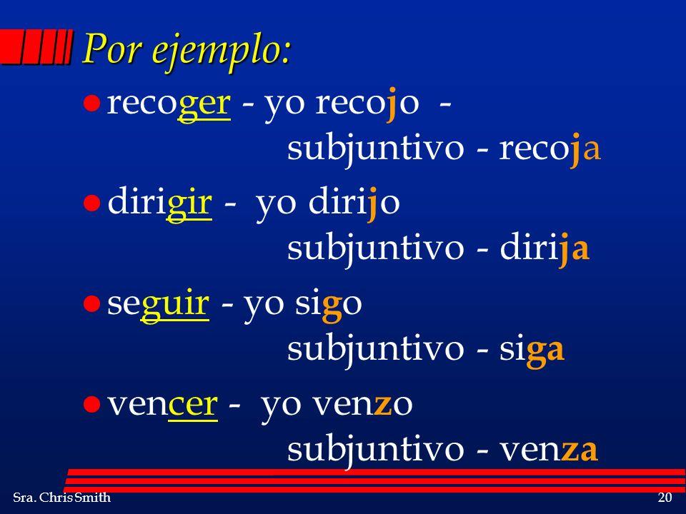 Por ejemplo: recoger - yo recojo - subjuntivo - recoja