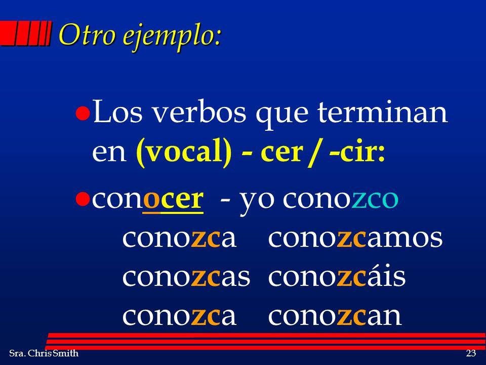Los verbos que terminan en (vocal) - cer / -cir: