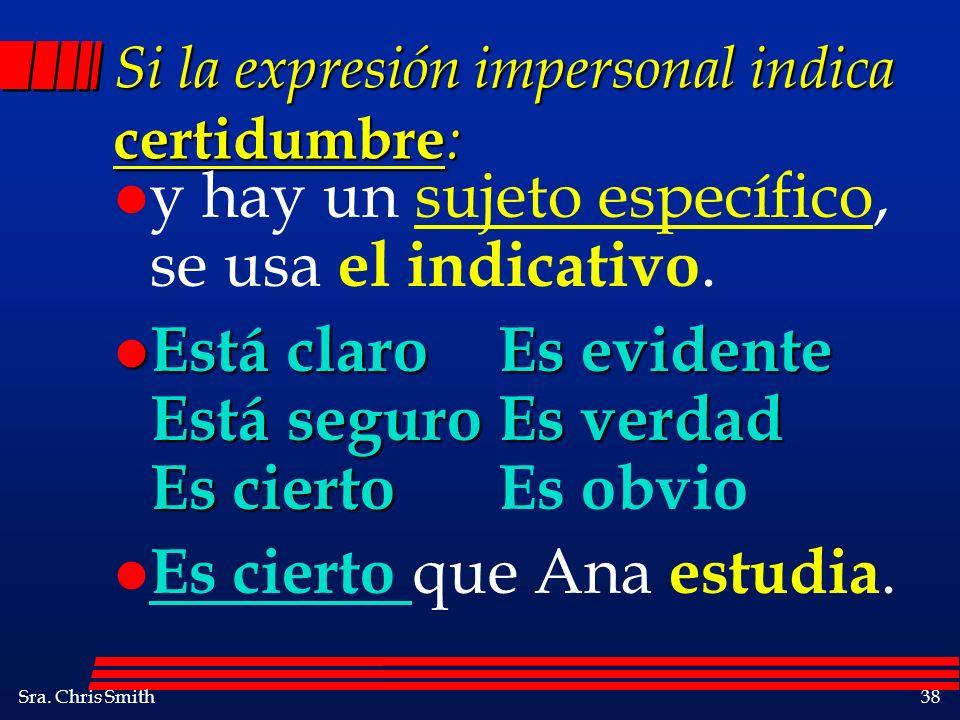 Si la expresión impersonal indica certidumbre: