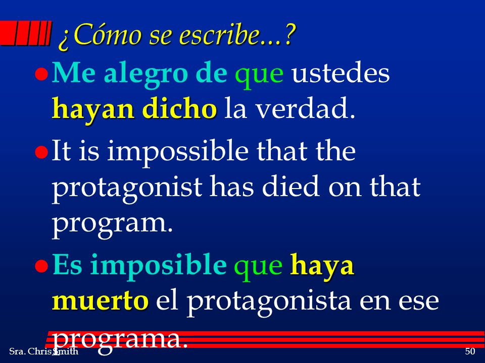 ¿Cómo se escribe... Me alegro de que ustedes hayan dicho la verdad. It is impossible that the protagonist has died on that program.