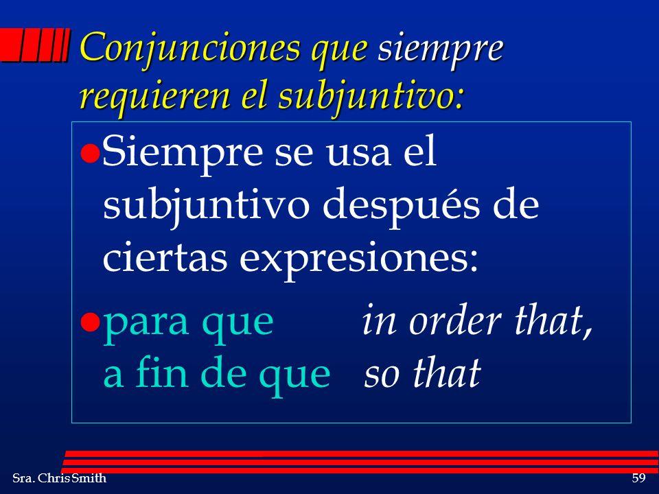 Conjunciones que siempre requieren el subjuntivo: