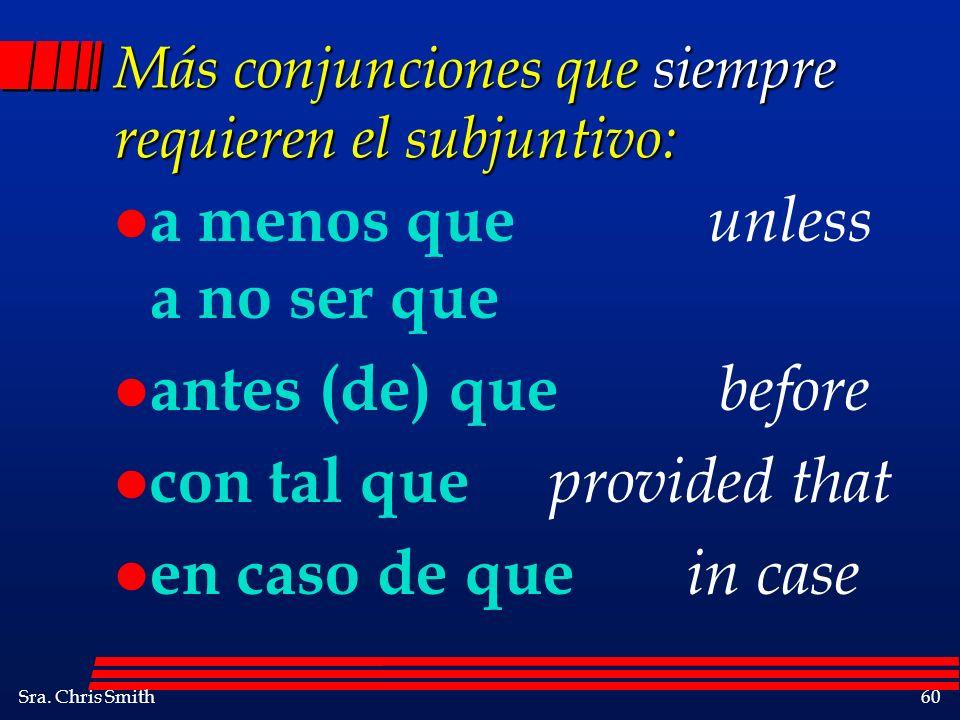 Más conjunciones que siempre requieren el subjuntivo: