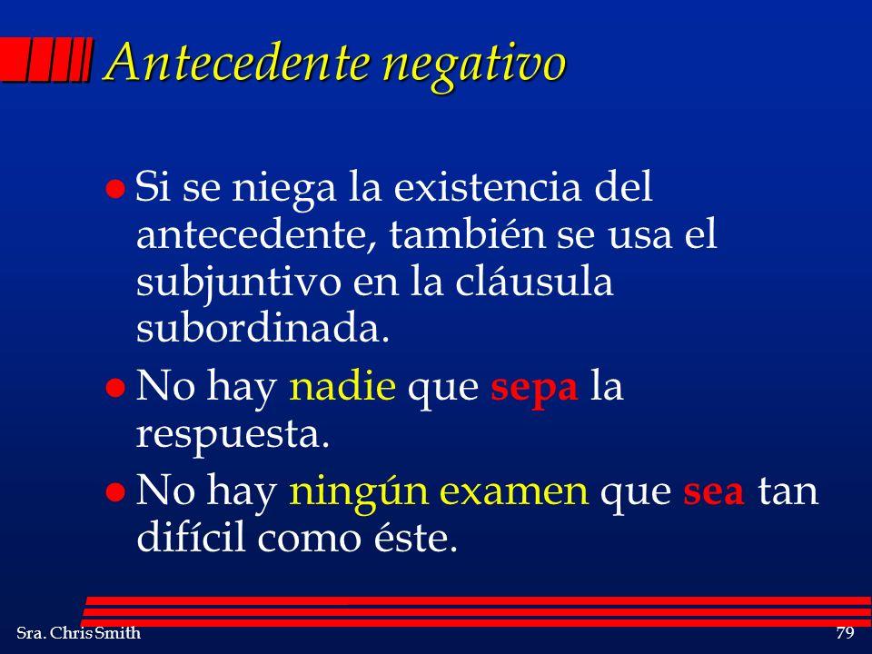 Antecedente negativo Si se niega la existencia del antecedente, también se usa el subjuntivo en la cláusula subordinada.