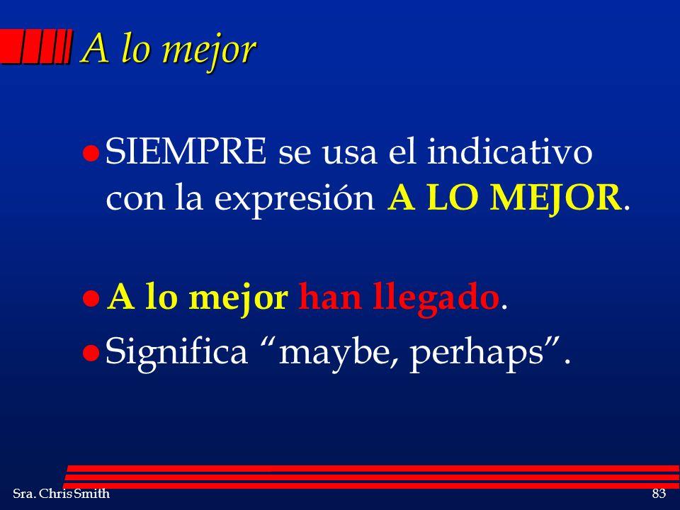 A lo mejor SIEMPRE se usa el indicativo con la expresión A LO MEJOR.