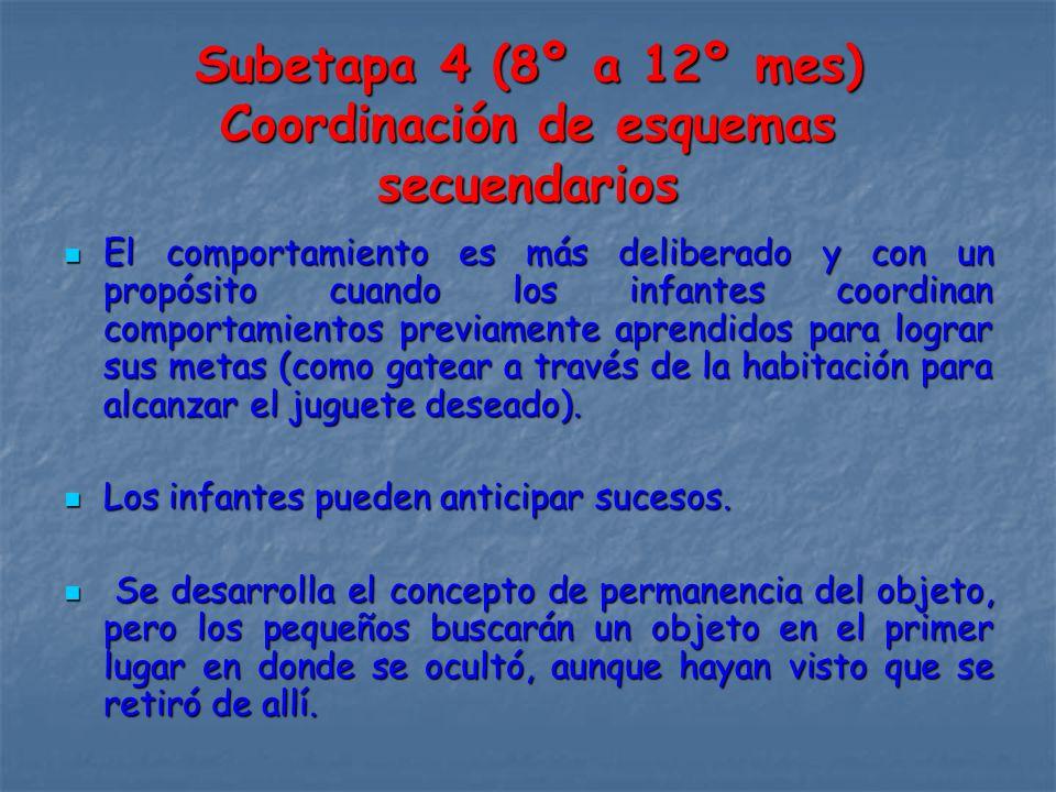 Subetapa 4 (8º a 12º mes) Coordinación de esquemas secuendarios