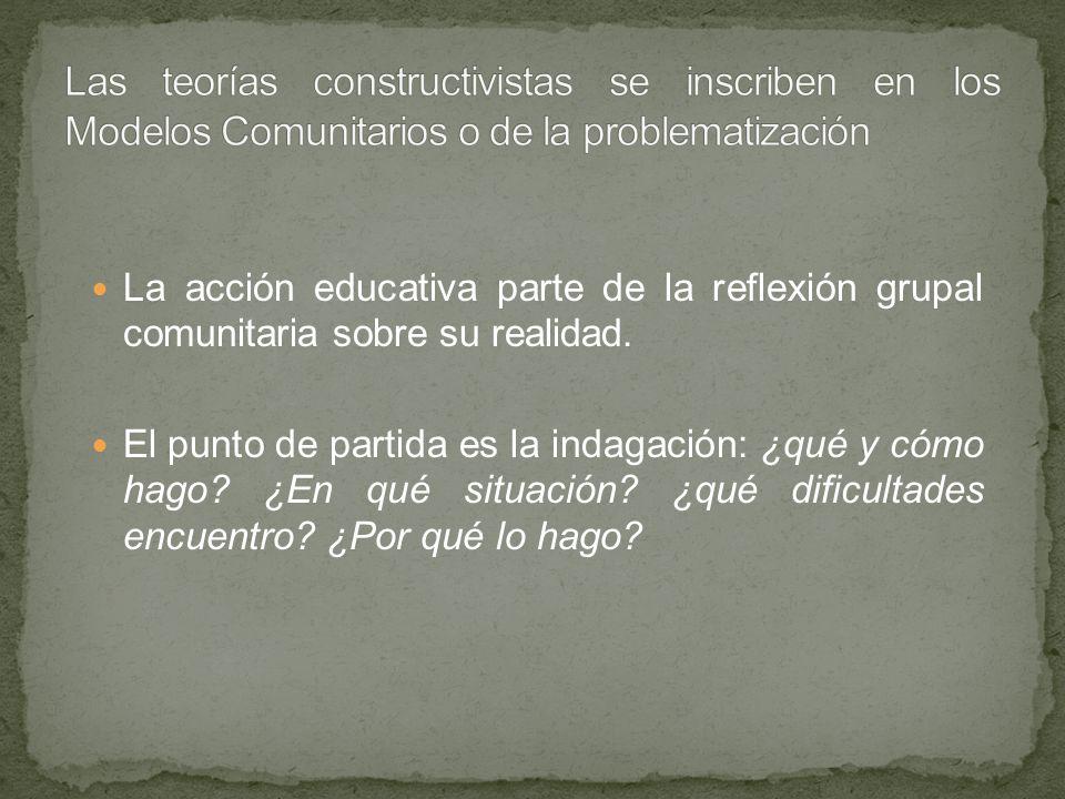 Las teorías constructivistas se inscriben en los Modelos Comunitarios o de la problematización